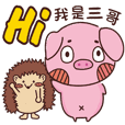 Coco Pig 2-Name stickers - Third brother