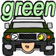Nobu's green off-road vehicle
