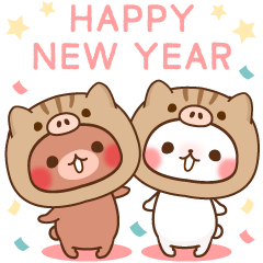 small Rabbit and small bear NewYear2019