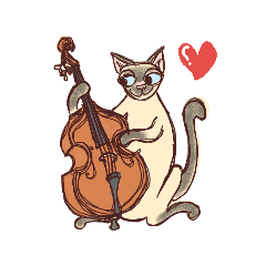 Siamese cat with Double bass