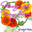 Message with Spring flowers-English