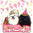 Pekingese Couple Stickers