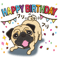Pug's Birthday sticker.