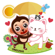 ONGIE MONKEY & CHINESE CAT IN LOVE