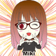 Miki's stickers wearing glasses