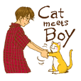 Cat meets Boy.