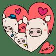hi-chan, bun-kun, kai-kun Sticker