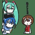 ゆるMEIKO、KAITO、初音ミクのスタンプ