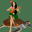 ハワイアンガール(フラガール)スタンプ