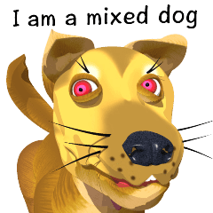 Sharp moving 3D mix dog