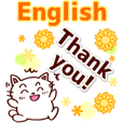 Thank you in English! Cute cat