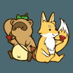 Drunk raccoon dog and fox