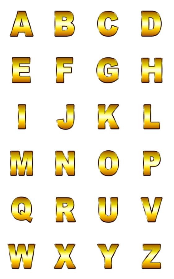 「黄金アルファベット 動く金の豪華スタンプ」のLINEスタンプ一覧