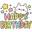 HAPPY kaomoji rabbits BIRTHDAY