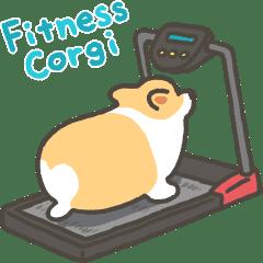 Fitness corgi sticker