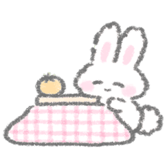 The white bunny stickers winter