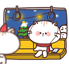 Line Creators Stickers Poker Face Cat In Christmas And New Year Example With Gif Animation