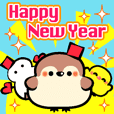 Happy New Year!Christmas!Child Sparrow