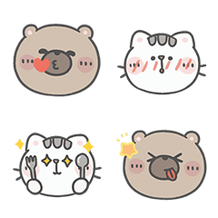 Mr. Bear and His Cutie Cat Emoji