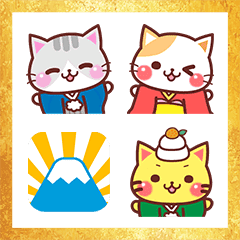 A lot of cats. New Year's Omikuji Emoji