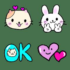 cute cat and rabbit Emoji