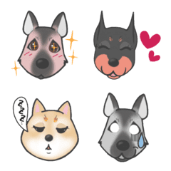 Dog Emoji Shepard.Doberman.Shiba