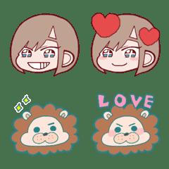 Short hair girl and lion Emoji