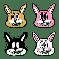 Rabbits blowing vegetable juice – LINE Emoji | LINE STORE