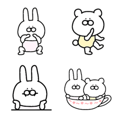 อีโมจิ Cute rabbit and bear emoji