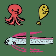 อิโมจิไลน์ สัตว์ทะเลปลาหมึกปลา