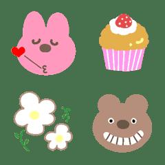 อีโมจิ Emoji of a Bear and a Rabbit