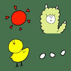 อีโมจิ Alpaca and chick emoji.
