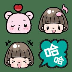 可愛鮑伯頭女孩 表情貼 (中文・台灣)