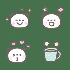 Fluffy pastel color panda emoji