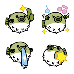 อีโมจิ Emoji of cute puffer fish