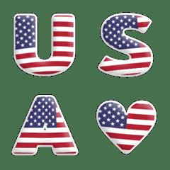 อิโมจิไลน์ ตัวหนังสือภาษาอังกฤษลายธงชาติอเมริกา