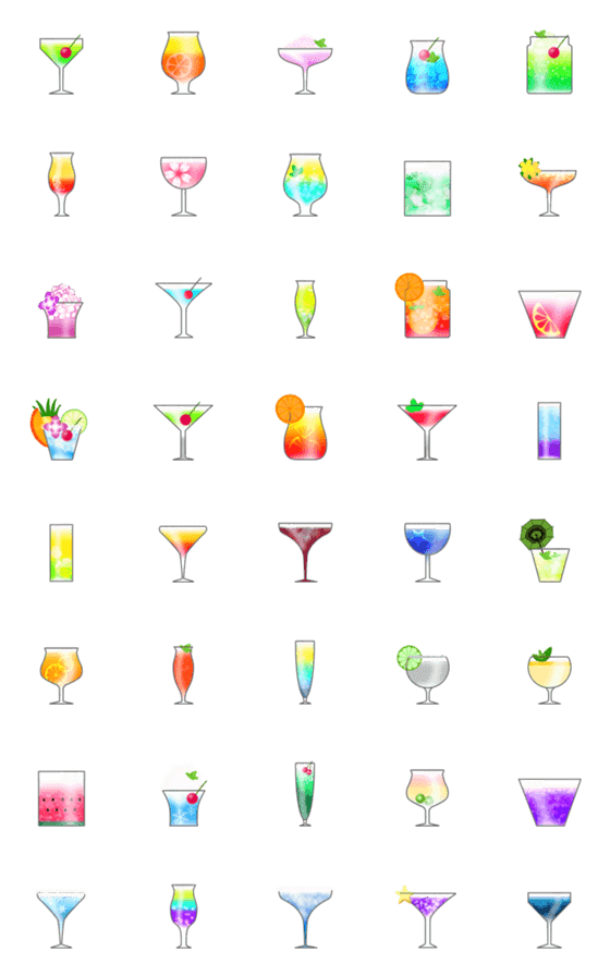 Colorful cocktails for adults – LINE Emoji | LINE STORE