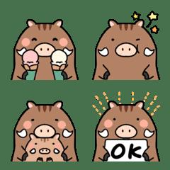 Very cute and round boar emoji