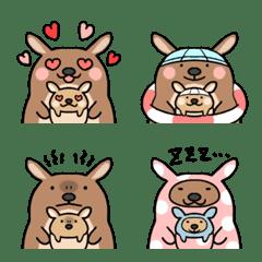 Parent-child emoji of cute kangaroo