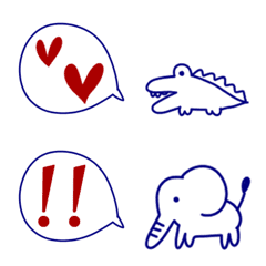 Fashionable line Emoji 4 speech bubbles