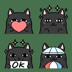 Very cute and round black cat emoji