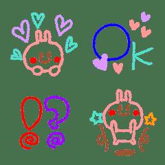 Heart-warming crayon rabbit