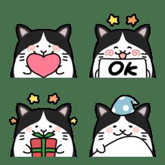Very cute bicolor cat emoji