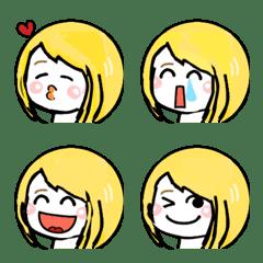Blonde girl face emoji stamp