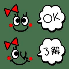 อิโมจิไลน์ Easy to use! Emoticon with red ribbon
