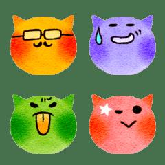By a crayon, cat Emoji.
