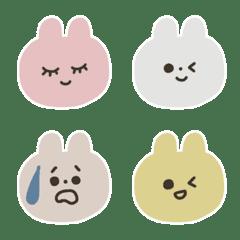 อิโมจิไลน์ Pink,yellow,beige and gray bunnies