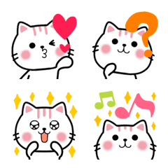 อิโมจิไลน์ Cute Cat All White Nekunya 100% Emoji
