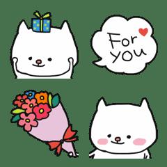 อิโมจิไลน์ Mellow White Cat Emoji