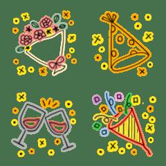 อิโมจิไลน์ Cute neon celebration emoji